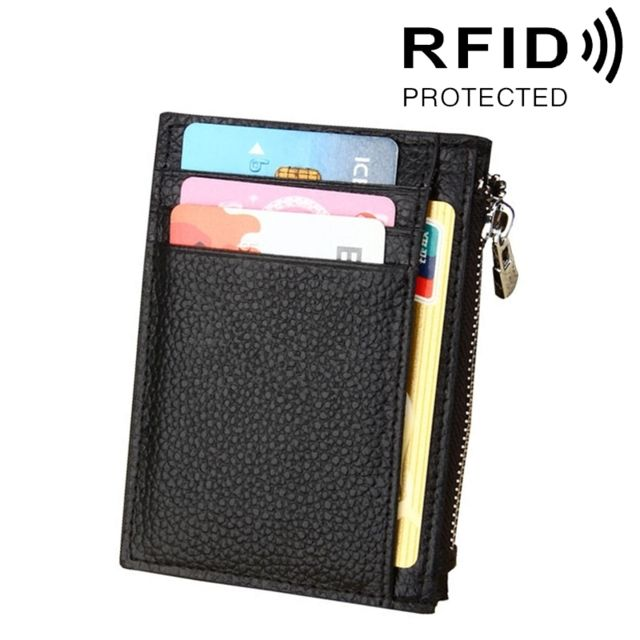 Porte Carte Protection sans contact Anti Rfid noir Cuir de vache Solide Couleur Zipper Porte cartes Portefeuille Rfid Blocage Porte Monnaie Sac