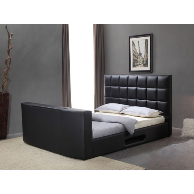 vente unique lit profusion avec syst me tv int gr 160x200cm simili noir pas cher achat. Black Bedroom Furniture Sets. Home Design Ideas