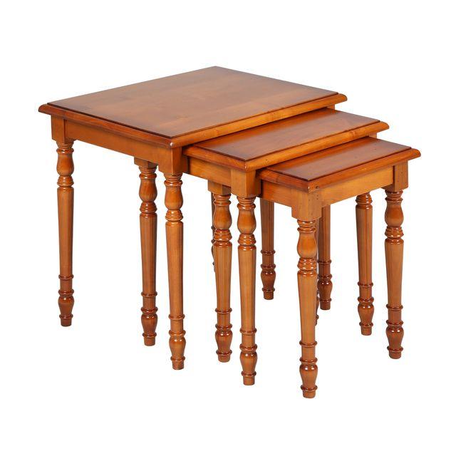 Tables Gigognes En Merisier Massif Style Louis Philippe