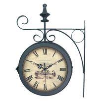 Emde - Horloge de gare en métal double face noir 27x38cm Station