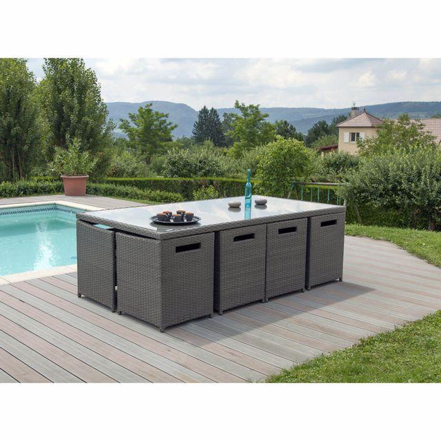 alin a milano jardin salon de jardin gris effet rotin. Black Bedroom Furniture Sets. Home Design Ideas