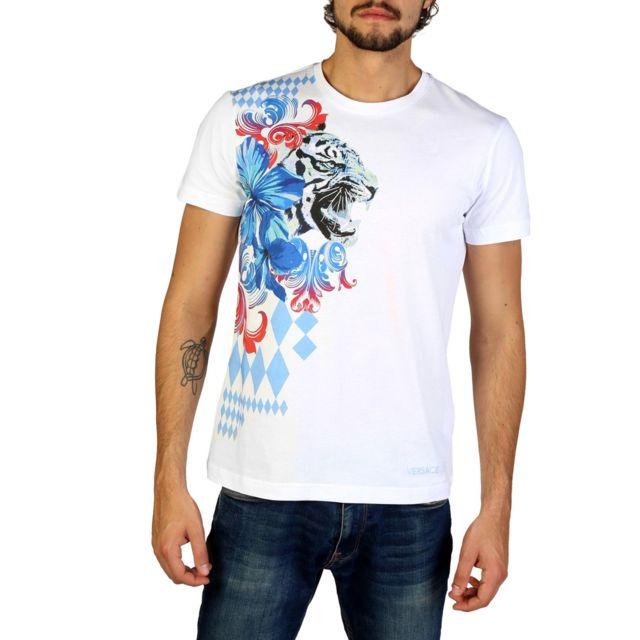 7165bb03d7de Versace - Jeans - T-shirt imprimé homme - Blanc - pas cher Achat   Vente  Tee shirt homme - RueDuCommerce