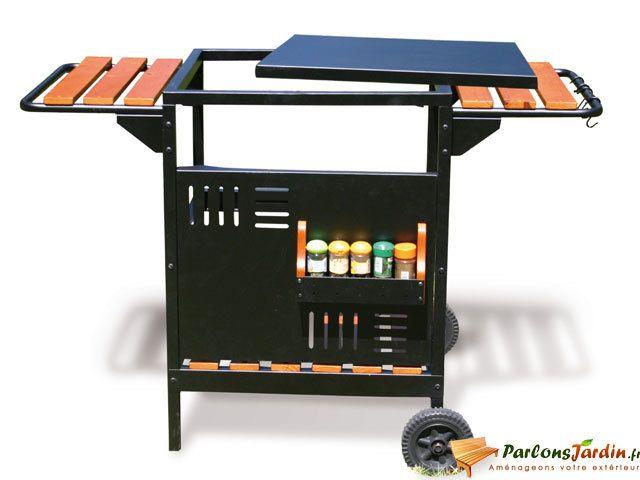 Delta Desserte roulante servante en acier pour barbecue et plancha Palencia L