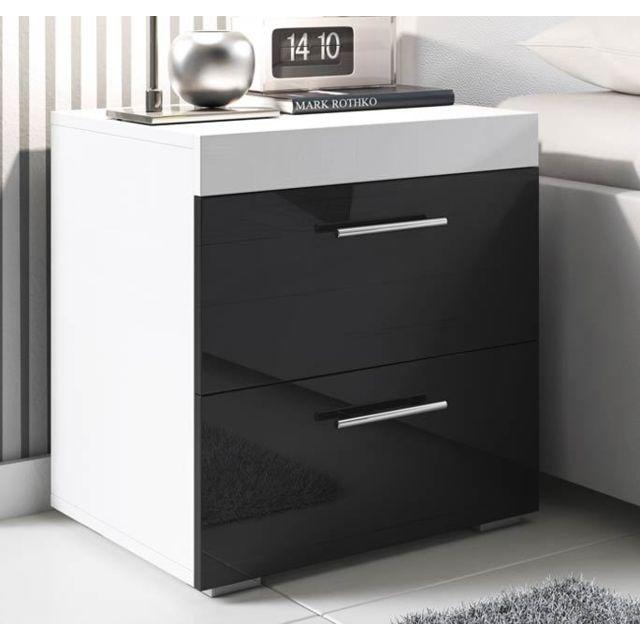 Design Ameublement Table de chevet Ciro blanc et noir