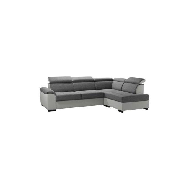 Sans Marque Kylian Canape Dangle Convertible + Coffre De Rangement - Simili Et Tissu Blanc Et Gris - L 258 X P 187 X H 77/89 Cm