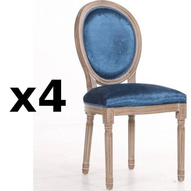 4bceb21eba314 Inside 75 - Lot de 4 chaises médaillon Versailles style louis Xvi velours  bleu et chêne