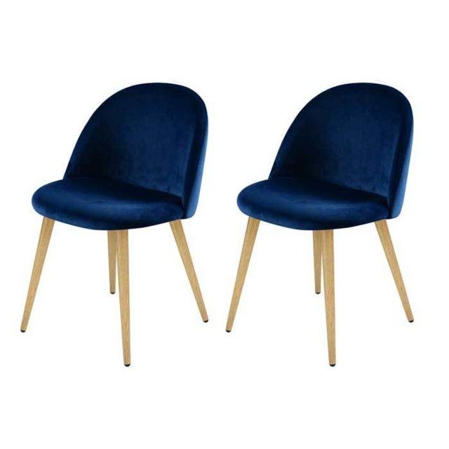 Rendez Vous Deco - Chaise Cozy en velours bleu foncé lot de 2