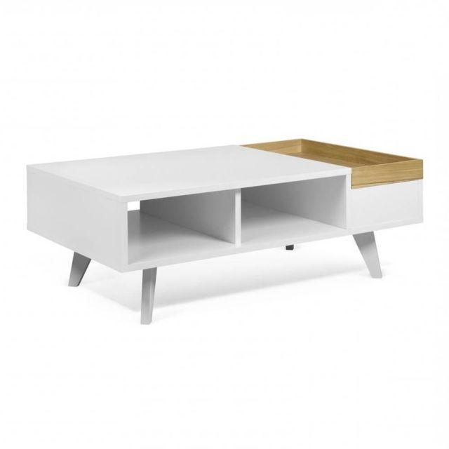 Inside 75 Table basse fonctionnelle Ruben avec plateau amovible blanc et chêne