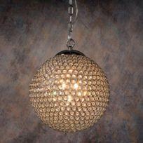 Lucide - Suspension boule en métal chromé et critaux de verre Persis