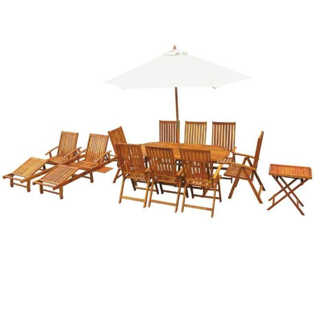 Vidaxl Mobilier à dîner d'extérieur 13 pcs Bois d'acacia massif