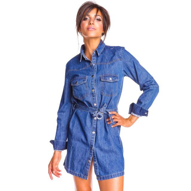 Doucel Robe chemise en jean boutonnée Taille Femme - 42, Couleur - bleu jean