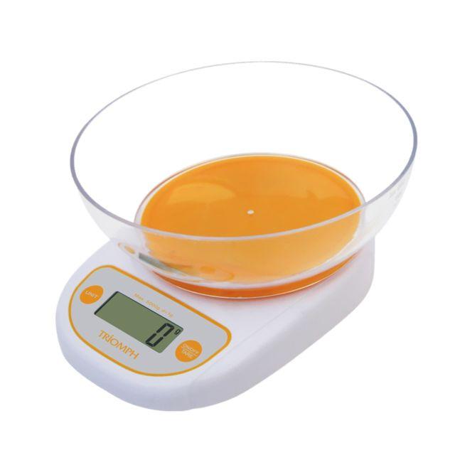 Triomph Balance culinaire électronique orange avec écran tactile Lcd - tare - Portée 5 kg + Bol