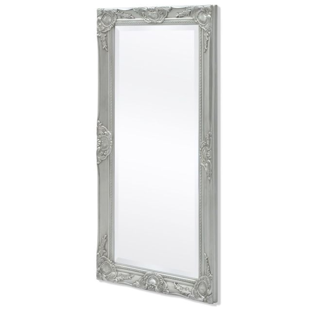 Miroir Mural Style Baroque 100 X 50 Cm Argente