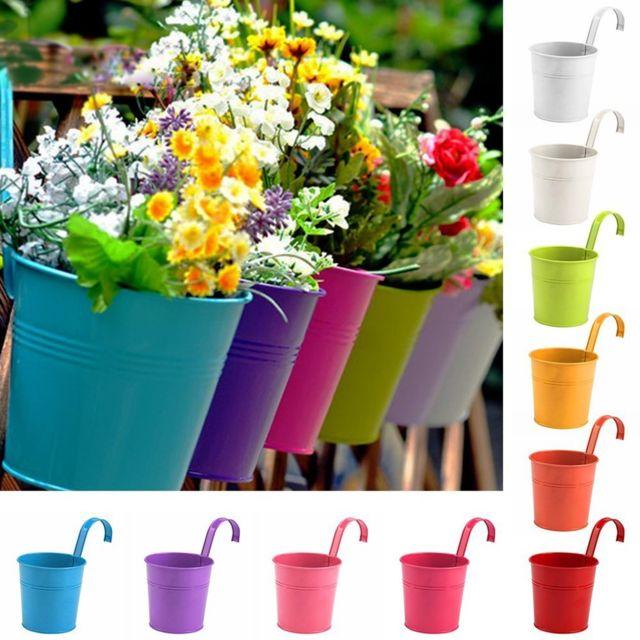 Generic Pots de fleurs extérieur Fer Métal suspendu Balcon Planteur 10 Pcs différent Vase coloré