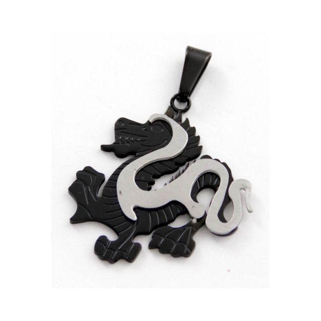 fc4f858969d Sans Marque - Pendentif Noir Homme Acier Dragon M H 494 - pas cher ...