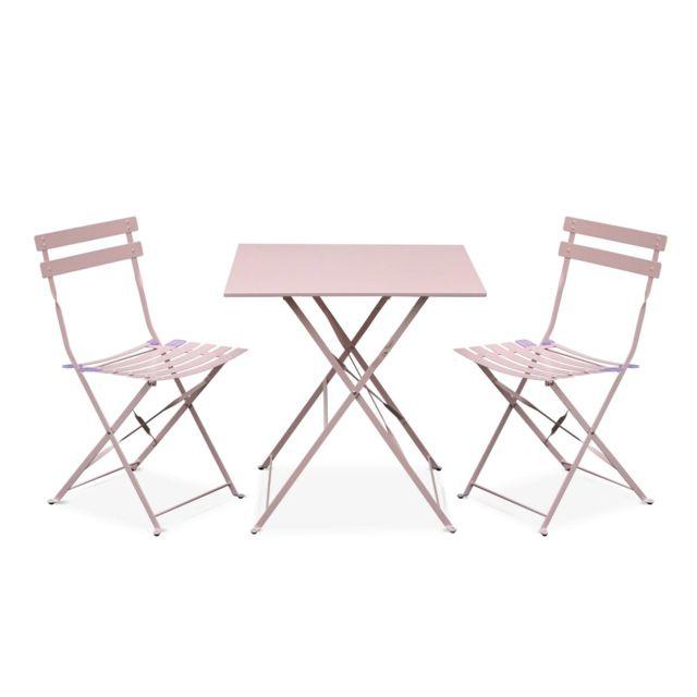 ALICE\'S GARDEN - Salon de jardin bistrot pliable - Emilia carré rose ...