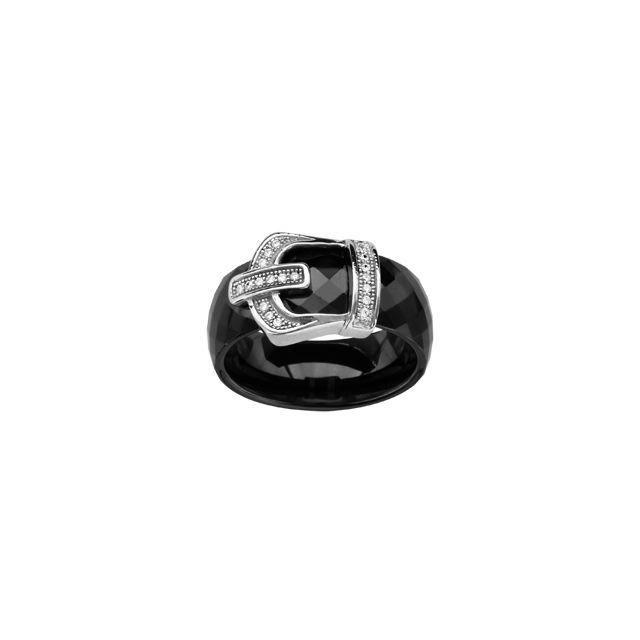 1001BIJOUX Bague argent rhodié anneau céramique facette noire motif ceinture oxydes micro-sertis blancs