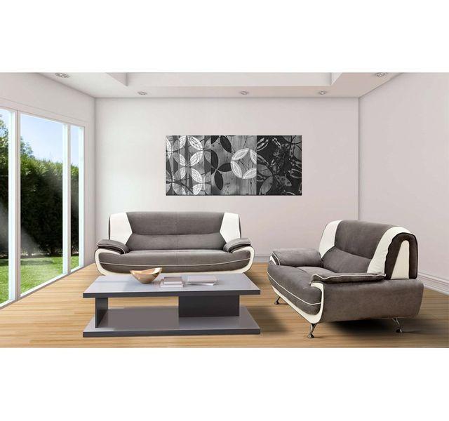 CHLOE DESIGN Canapé design 3+2 Bregga microfibre - gris et blanc
