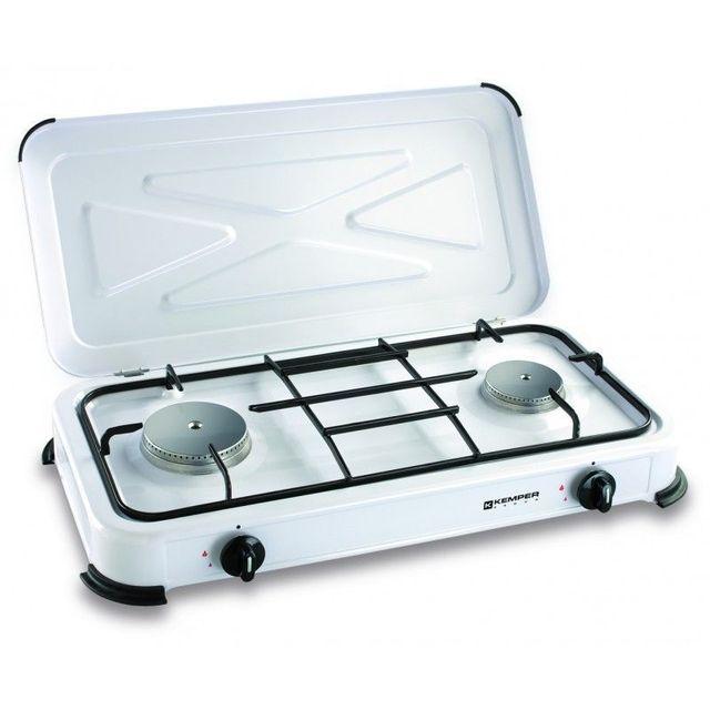 Kemper Plaque de cuisson gaz portable 2 feux - 2600 w - blanc laqué