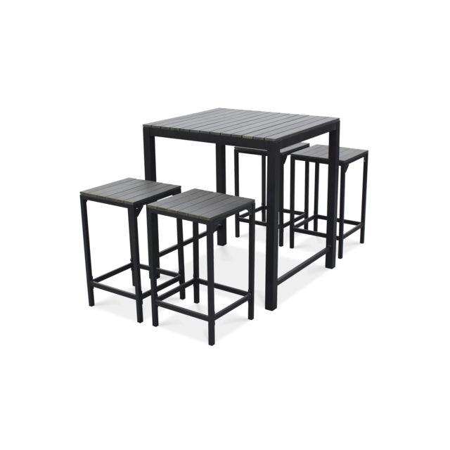 Table haute de jardin et 4 tabourets en aluminium - Gris