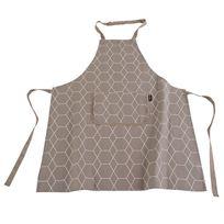 Ziczac - Tablier adulte 100% coton motif géométrique Hexagone - Taupe