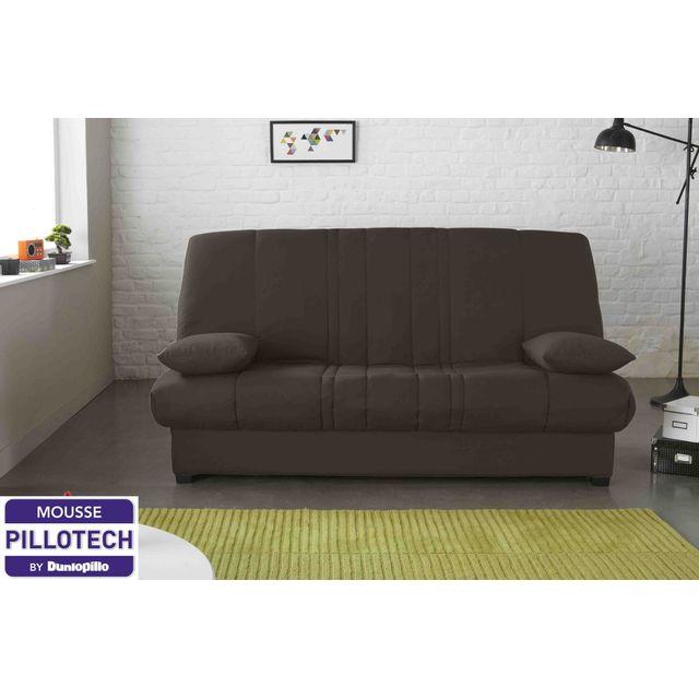 relaxima banquette lit clic clac chocolat edwin matelas mousse pillotech by dunlopillo pas. Black Bedroom Furniture Sets. Home Design Ideas
