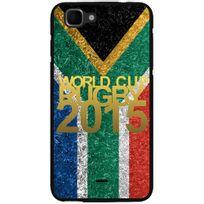 Kabiloo - Coque noire pour Wiko Kite impression motif logo rugby doré et drapeau de l'Afrique du Sud