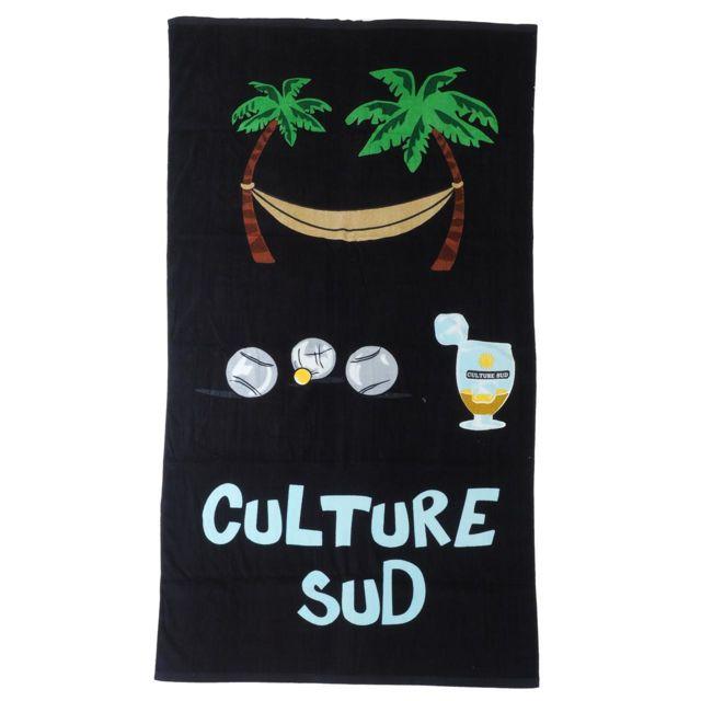 Culture Sud Serviette de bain drap de plage Rouloul noir 100x180 cm Blanc 79801