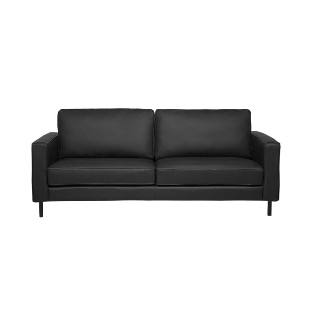 Canapé en cuir noir SAVALEN