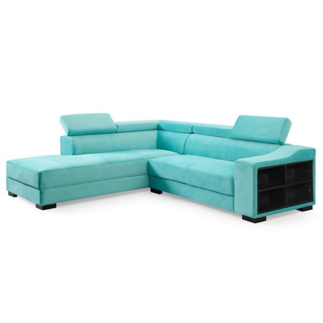 MENZZO Canapé d'angle en velours Onoz Vert