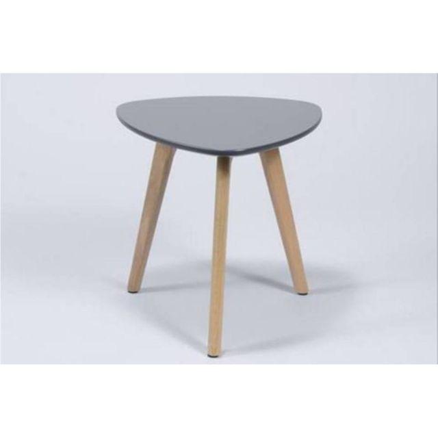 Inside 75 Table d'appoint Pm Mignone design grise avec piétement en chêne massif