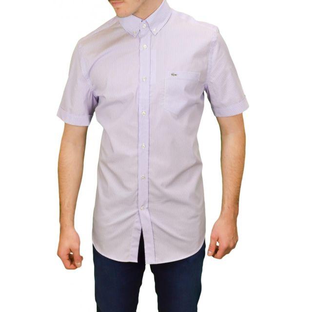 6c730efc7c19e Lacoste - Chemise manches courtes rayée blanc et violet pour homme - pas  cher Achat / Vente Chemise homme - RueDuCommerce