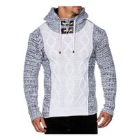 Beststyle - Pull gros col roulé homme blanc design original