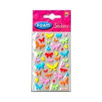 No Name - Planche de 40 stickers en relief Papillons Fleurs 6 à 22mm