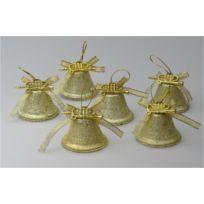 Somoplast - Lot de 18 cloches dorées - Suspensions pour décoration de sapin de Noël