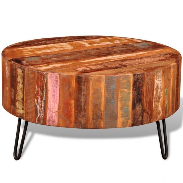 Casasmart Table basse ronde bois recyclé