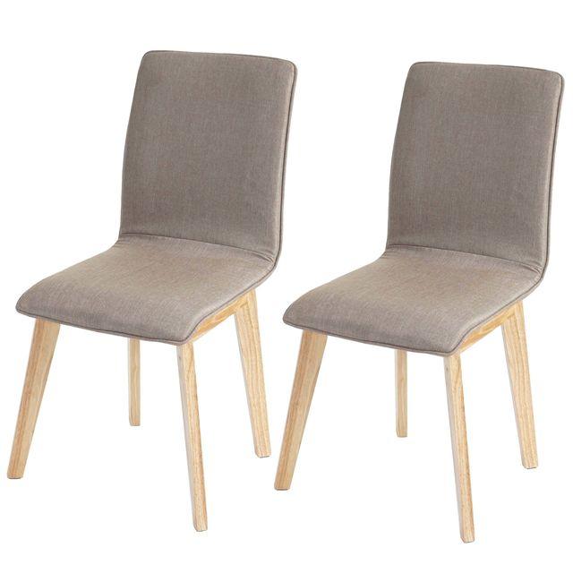 Mendler 2x chaise de salle à manger Zadar, fauteuil, design rétro des années 50, tissu ~ marron avec couture