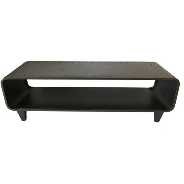 Declikdeco Table Basse en Métal Noir Steely