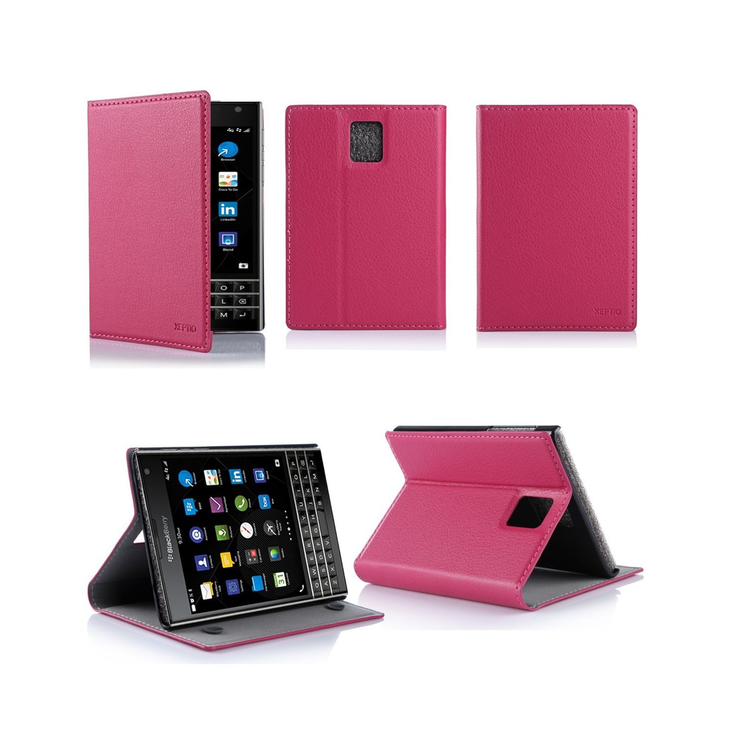 Xeptio - Blackberry Passport rose avec stand