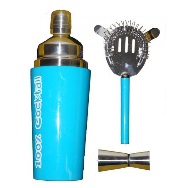 Coffret cocktail - 3 pièces - Bleu - Shaker et accessoires