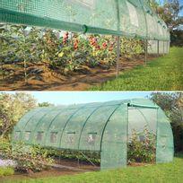 Idmarket - Serre de jardin tunnel toutes saisons 18 m² 140 gr/m² verte