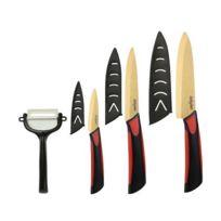 Dailycious - Lot de 4 pièces Céramique Titanium lame Gold// Manche Bi-Color Abs Noir/Silicone Rouge //1 Couteau chef 15cm +1 Couteau universelle 12.5cm