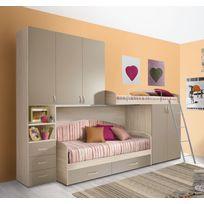Mennza - Chambre d'enfant complète Hurra combiné lits étages décor orme / beige taupe