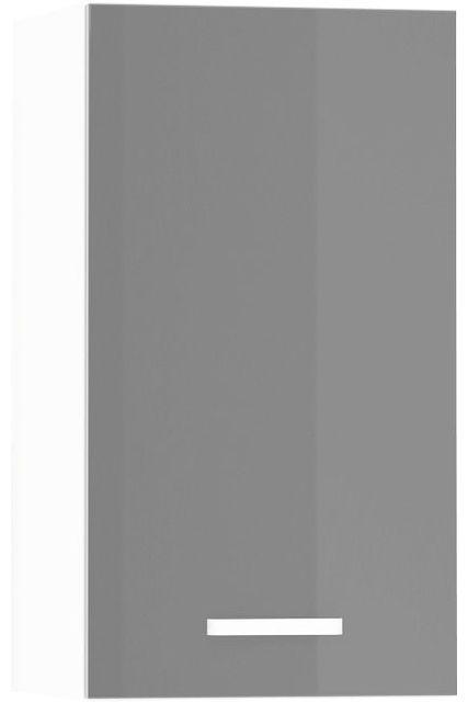 Comforium Meuble haut de cuisine design 40 cm avec 1 porte coloris blanc mat et gris laqué