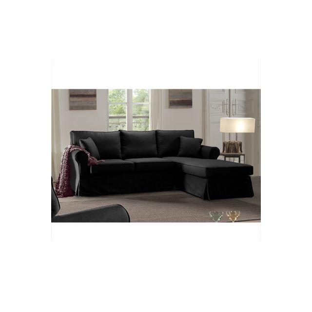 Canapé d'angle fixe droit noir Jaipur