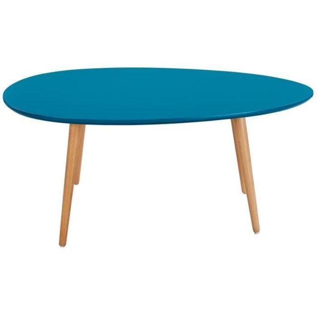 Icaverne Table Basse Stone Table Basse Ovale Scandinave Bleu