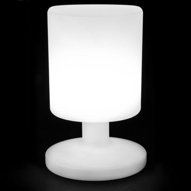 Ma Maison Mes Tendances Lampe De Table Led 26cm En Plastique Blanc