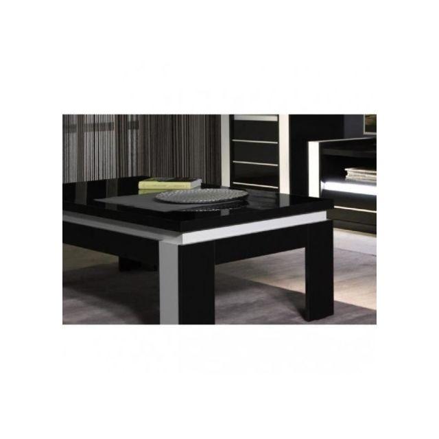 price factory table basse design lina noir et blanche laqu e pas cher achat vente meubles. Black Bedroom Furniture Sets. Home Design Ideas