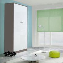 Inside 75 - Armoire lit Kubic couchage 140 18 190 cm taupe et blanc mat