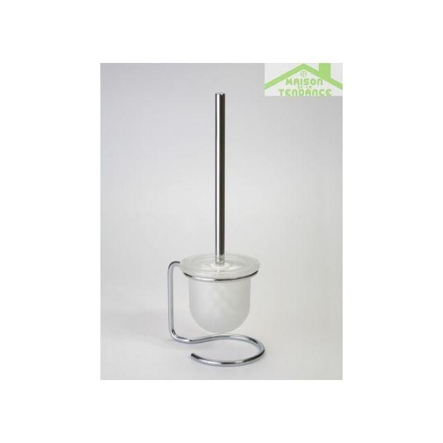 Bemeta - Maison De La Tendance Brosse blanche ou noire de toilettes Omega, bol en verre 11x40x13cm - Noir